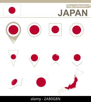 Japan Flag Collection, 12 versions - Stock Photo