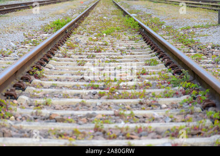 Low angle view on the dual side of a track on a railway in a receding view showing the sleepers to the side in a transport concept - Stock Photo
