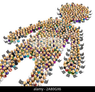 Crowd of small symbolic figures forming big person shape edge workers using laptops, 3d illustration, horizontal, isolated, over white - Stock Photo