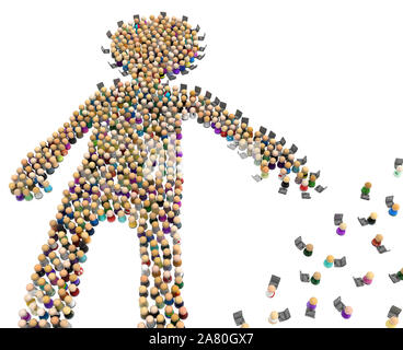 Crowd of small symbolic figures forming big person shape laptops reaching, 3d illustration, horizontal, isolated, over white - Stock Photo