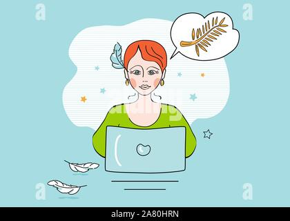 Girl, woman screen writer at computer, composes with a pen, dreams of receiving an award for the best script, text, story. Vector illustration, concep - Stock Photo