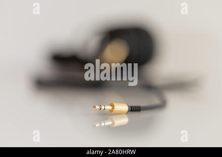 cut out of a stereo jack connector - Stock Photo