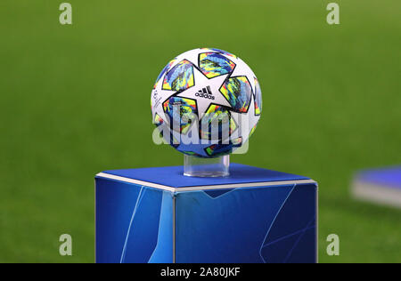 PRAGUE, CZECHIA - OCTOBER 23, 2019: Official UEFA Champions League match ball on pedestal during the UEFA Champions League game between Barcelona and Slavia Praha at Eden Arena in Prague - Stock Photo