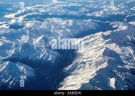 Aerial view of snowy Alps in Austria - Stock Photo