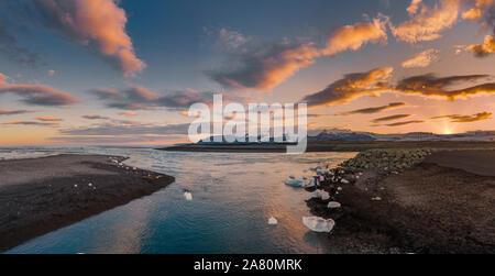 Jokulsarlon Glacial Lagoon, Vatnajokull National Park, Iceland. Unesco World Heritage Site. - Stock Photo