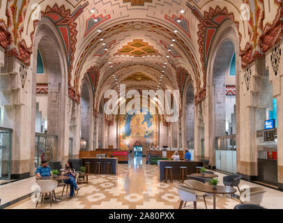 Detroit Art Deco architecture. The Banking Hall of the Guardian Building in downtown Detroit, Michigan, USA - Stock Photo