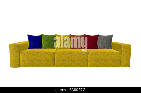 Yellow sofa with colorful cushions insulated on white - Stock Photo