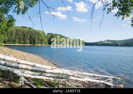 Beautiful Vlasina Lake (Serbia) in summer. - Stock Photo
