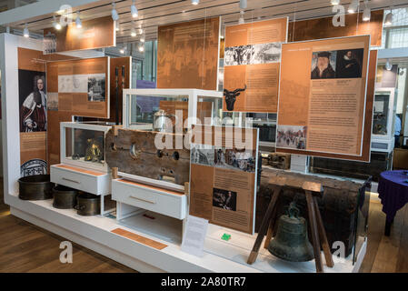 Historical artefacts on display at County Hall & museum in Market Place in Abingdon-on-Thames, - Stock Photo