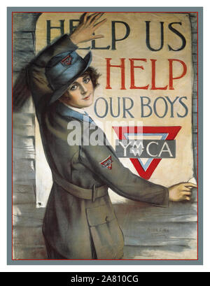 Vintage YMCA American historic WW1 propaganda appeal poster 'Help us help our boys' by artist Haskell Coffin for the 'United work Campaign' YMCA America USA  First World War World War 1 - Stock Photo