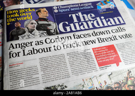 'Anger as Corbyn faces down calls for Labour to back new Brexit vote' in May 2019 Guardian newspaper front page headline London England UK - Stock Photo