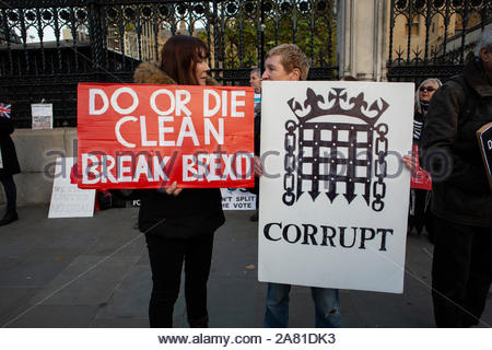 A Leave means Leave march took place at Westminster on October 31st in protest at the failure to deliver Brexit. There was a heavy police presence at the protest and arrests were made. - Stock Photo