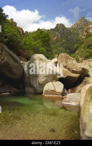 Gorges d'Héric, Monts de l'Espinouse, Hérault, Occitanie, France: a rock pool in the mountains - Stock Photo