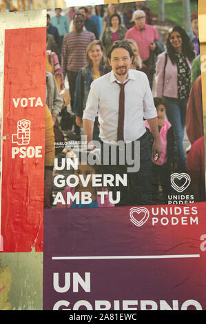 November, 2019. Valencia, Spain. Poster of the electoral campaign of the political party 'United we can' for the elections of November 10, 2019, with - Stock Photo