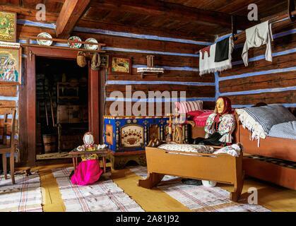 Hut interior, Open Air Museum at Stara Lubovna, Presov Region, Slovakia