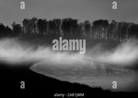 Foggy landscape, near Oberweser, Weser Uplands, Weserbergland, Hesse, Germany; - Stock Photo