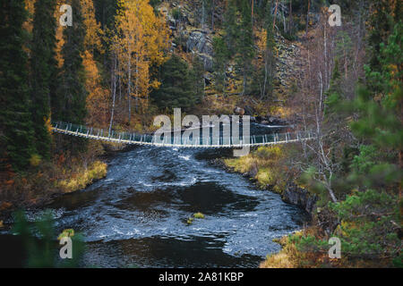 Autumn view of Oulanka National Park landscape, during hiking, a finnish national park in the Northern Ostrobothnia and Lapland regions of Finland - Stock Photo