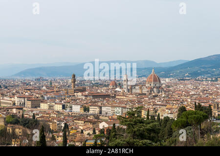 FLORENCE, ITALY - 25, MARCH, 2016: Horizontal picture of amazing view from the top of the hill in  Florence, Italy - Stock Photo