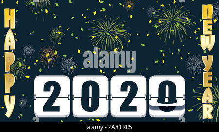 2019 New years Countdown clock changing numeral with festive background and flip type - Stock Photo