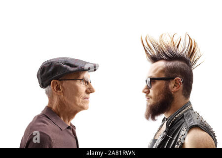 Young punk and a senior man looking at each other isolated on white background - Stock Photo