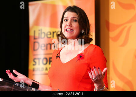 Leader of Liberal Democrat, Jo Swinson speaking to the party members and supporters during the launch of the 2019 general election campaign. The voters will go to the polls on 12 December 2019 and the new UK government will attempt to pass the Brexit agreement through Parliament before the next deadline of 31 January 2020. - Stock Photo