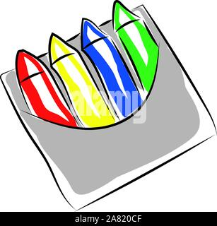 Crayons in box, illustration, vector on white background. - Stock Photo