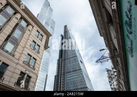 Modern architecture of high rise commercial buildings seen in the City of London, UK in November. - Stock Photo