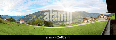View to Zillertal valley with sunset over mountain range of austrian alps in Tirol, Austria Europe - Stock Photo
