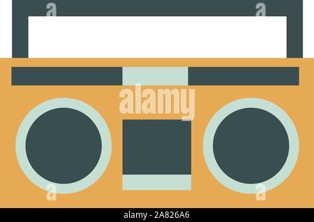 Retro radio, illustration, vector on white background. - Stock Photo