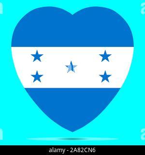 Honduras Flag In Heart Shape Vector illustration eps 10. - Stock Photo