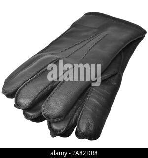 Black Men Deerskin Gloves, Large Detailed Isolated Men's Fine Grain Deer Leather Glove Pair Macro Closeup Studio Shot, Soft Textured Warm Winter - Stock Photo