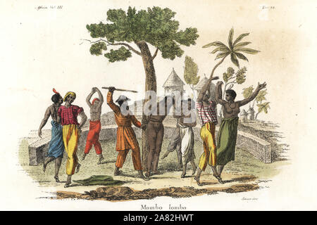 A Mandingo polygamist in a suit of tree bark beats one of his wives in the brutal ritual of Mumbo Jumbo, Kolor. Handcoloured copperplate engraving by Antonio Sasso from Giulio Ferrario's Ancient and Modern Costumes of all the Peoples of the World, Florence, Italy, 1843. - Stock Photo