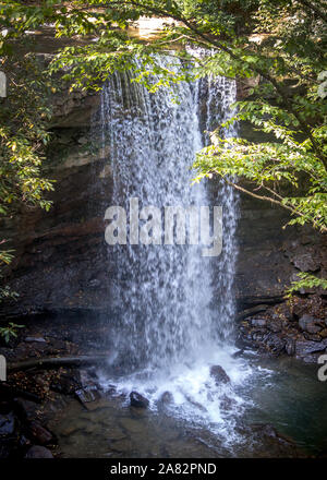 beautiful cucumber falls in Ohiopyle State Park in Fayette County, Pennsylvania - Stock Photo