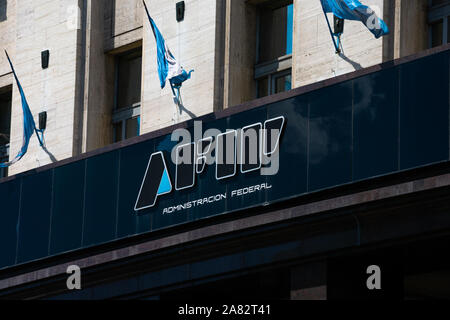 Buenos Aires, Argentina. October 26, 2019. Federal Administration of Public Income sign (Administracion Federal de Ingresos Publicos) usually shortene - Stock Photo