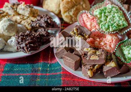 delicious holiday treats on a Christmas buffet - Stock Photo