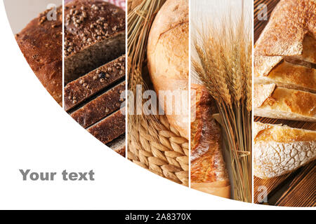 Collage of photos with fresh bread and space for text - Stock Photo
