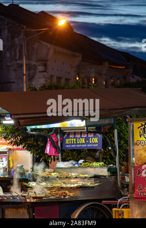 PENANG, MALAYSIA, NOV 12 2017, The stands with traditional food - Jetty Lok Lok at Georgetown, Penang Island, Malaysia - Stock Photo