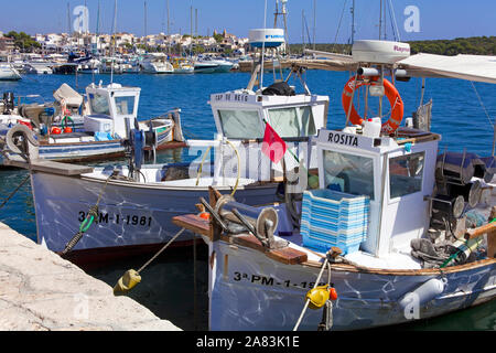 Fishing boats at the historic harbour of Porto Colom, Mallorca, Balearic islands, Spain - Stock Photo