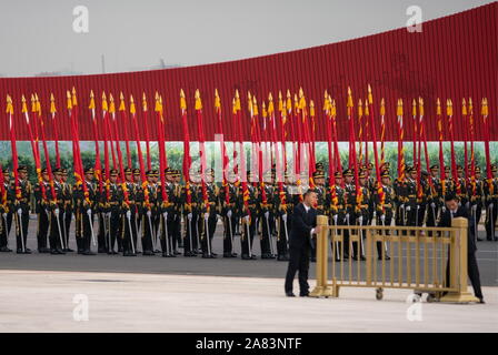 Beijing, China. 06th Nov, 2019. BEIJING, CHINA - NOVEMBER 6, 2019: A welcoming ceremony for France's President Emmanuel Macron. Artyom Ivanov/TASS Credit: ITAR-TASS News Agency/Alamy Live News - Stock Photo