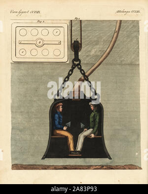 Diving bell with two divers on board, circa 1820. An improved version of Edmond Halley's diving bell, this hermetically sealed diving chamber was supplied by air through a copper pipe from the surface. Handcoloured copperplate engraving from Friedrich Johann Bertuch's Bilderbuch fur Kinder (Picture Book for Children), Weimar, 1823. - Stock Photo