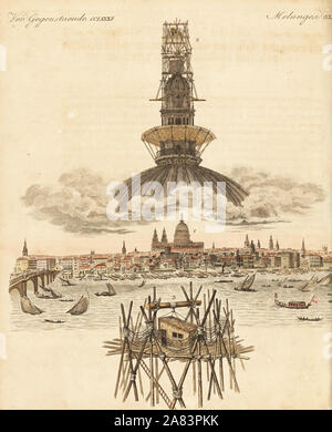Thomas Hornor's hut on scaffolding above the dome of St. Paul's Cathedral, London, where he painted his giant panorama of London, 1821. Handcoloured copperplate engraving from Friedrich Johann Bertuch's Bilderbuch fur Kinder (Picture Book for Children), Weimar, 1823. - Stock Photo