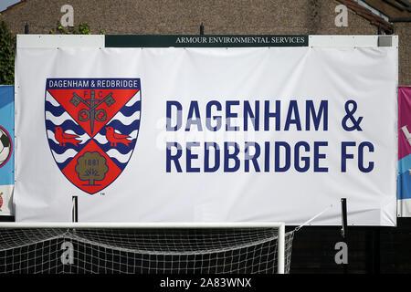 Giant Dagenham & Redbridge FC signage during Dagenham & Redbridge vs Barnet, Vanarama National League Football at the Chigwell Construction Stadium on - Stock Photo