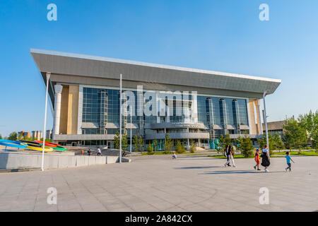 Nur-Sultan Astana Central City Tsentralnyy Gorodskoy Park View of National Tennis Center Building on a Sunny Blue Sky Day - Stock Photo