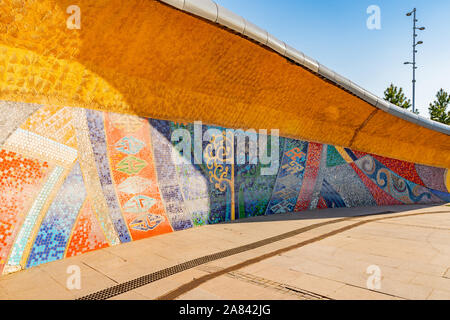 Nur-Sultan Astana Central City Tsentralnyy Gorodskoy Park View of Mosaic Art on a Sunny Blue Sky Day - Stock Photo
