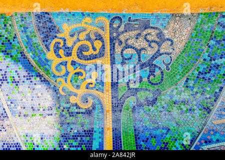 Nur-Sultan Astana Central City Tsentralnyy Gorodskoy Park View of Mosaic Art Tree on a Sunny Blue Sky Day - Stock Photo