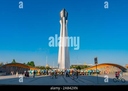 Nur-Sultan Astana Central City Tsentralnyy Gorodskoy Park View of Day of Kazakhstan Monument on a Sunny Blue Sky Day - Stock Photo