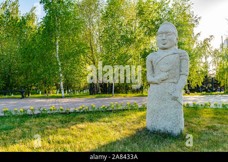Nur-Sultan Astana Central City Tsentralnyy Gorodskoy Park View of a Balbal Sculpture on a Sunny Blue Sky Day - Stock Photo