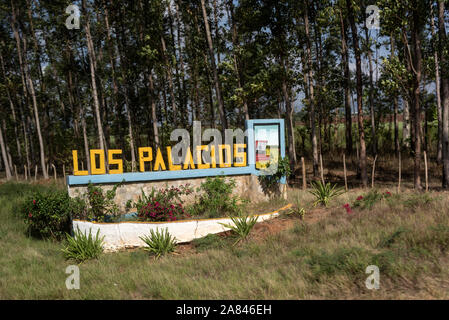A road sign, Los Palacios, a small tow near the main highway between Pinar del Rio and Havana in the Pinar del R'o Province of Cuba. - Stock Photo