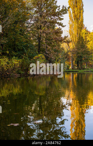 Autumn colors of Yellow orange and still a touch of green reflect in the mountain lake - Stock Photo