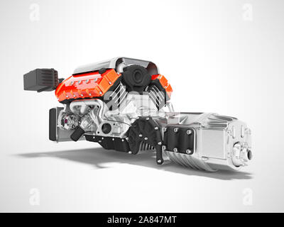 Car engine with air filters and manifold gearbox 3d render on gray background with shadow - Stock Photo